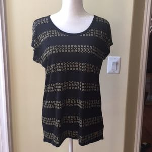 Michael Kors Gold Circle Print Short Sleeve Top